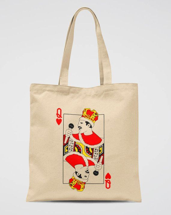 Queen Band Tote Bag Freddie Mercury Canvas Tote Bag with playing card -  Funny Women Printed Tote Bag 97839f048b