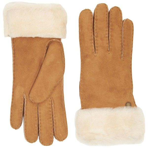 UGG Classic Turn Cuff Waterproof Sheepskin Gloves (Chestnut) Extreme... (9.175 RUB) ❤ liked on Polyvore featuring accessories, gloves, ugg, ugg gloves, cold weather gloves, water proof gloves and sheepskin gloves