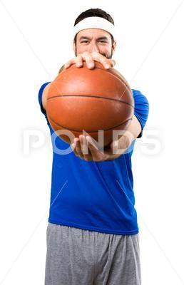Lustiger Sportler mit Ball des Basketballs auf lokalisiertem weißem Hintergrund Stockfoto …   – Retirement Invitation Templates