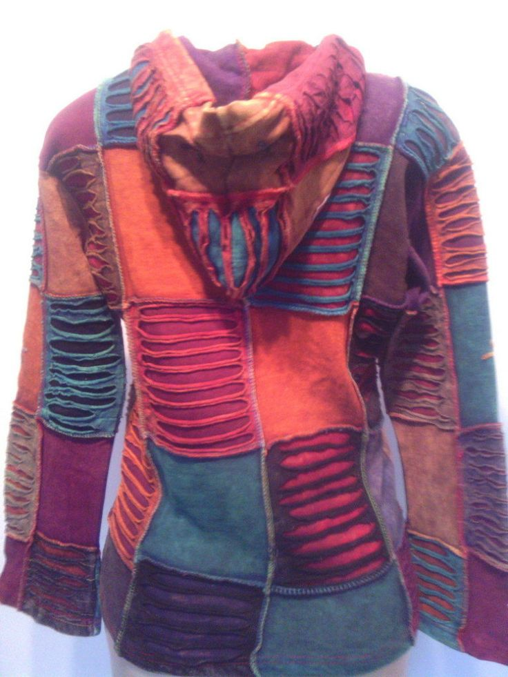 Hoodie Jacket Patchwork, handmade hippie style by HippieshopAfrica on Etsy