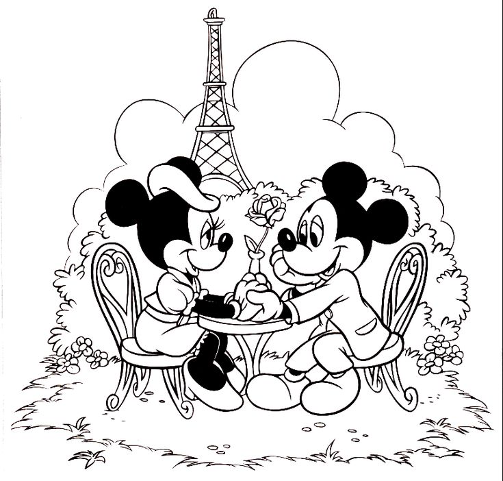 Disney St Valentine's colouring picture showing Minnie and Mickey Mouse being all romantic in paris with the Eiffel Tower in the backgrou...