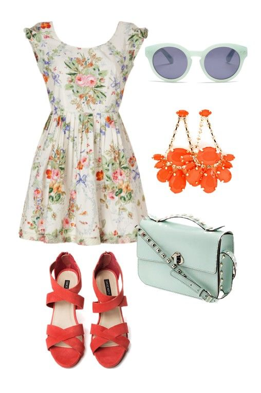Floral, mint and coral