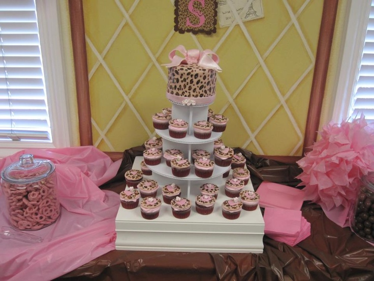 Homemade Leopard Print Cake And Cupcakes For A Girl Baby Shower
