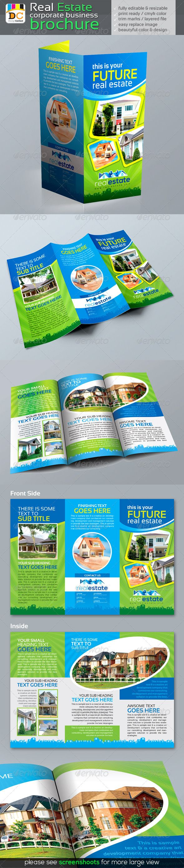 Tri Fold Real Estate Brochure By Leza On Creative Market  Design