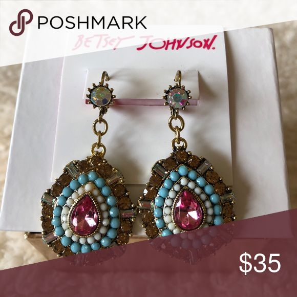"""🌺NWT! BETSEY JOHNSON CRYSTAL TEARDROP EARRINGS BRAND NEW! AUTHENTIC BETSEY JOHNSON CRYSTAL TEARDROP EARRINGS-2"""" L, crystal & bead accents, & Base Metal/acrylic/glass.....These are beautiful earrings, & the photo doesn't do them justice.....Will be using a stock photo, soon.... Betsey Johnson Jewelry Earrings"""