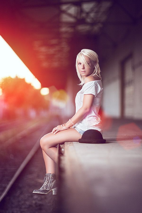 Waiting for the sunset train by Sebastian Grafe Photographs on 500px   Women Photography