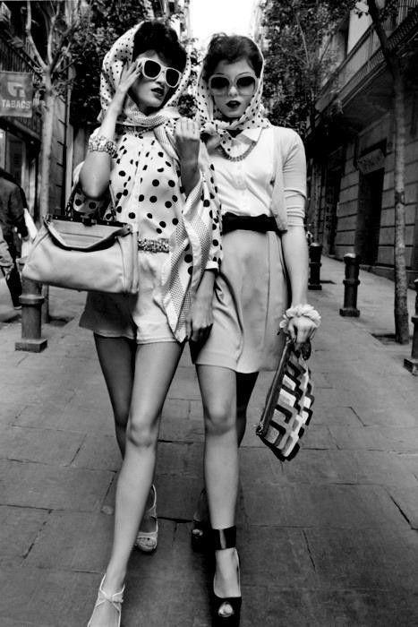 60s beauty's in Sunglasses, Madrid, Spain.