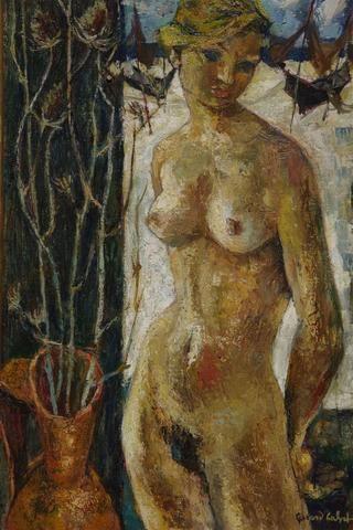 CALVET Gérard (1926) - Nu aux chardons - Huile sur toile signée