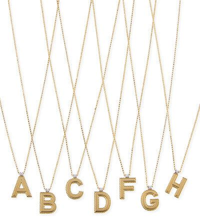 Roberto Coin Princess 18K Yellow Gold Diamond Initial Necklace ($950)
