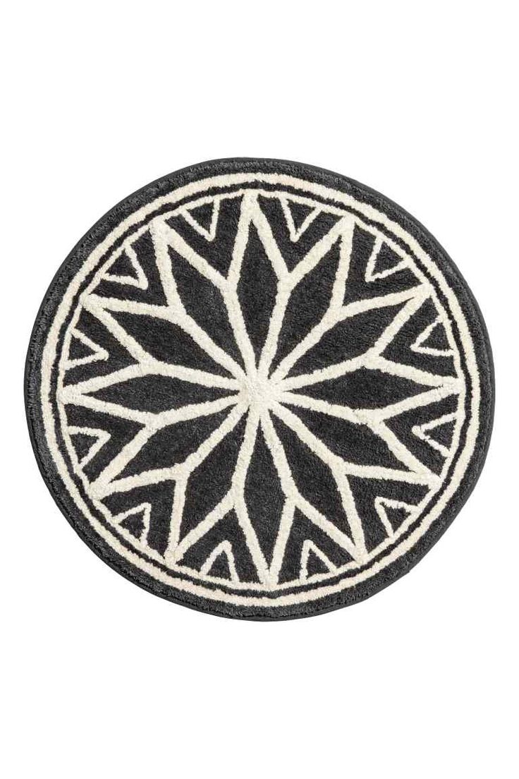 Jacquard-weave bath mat - Dark grey/Natural white - Home All | H&M GB 1