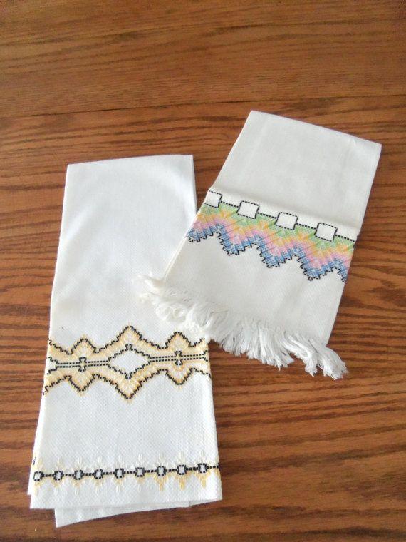 2 Vintage Swedish Huck Weaving Hardanger Huckabuck Hand by kgroah, $10.00