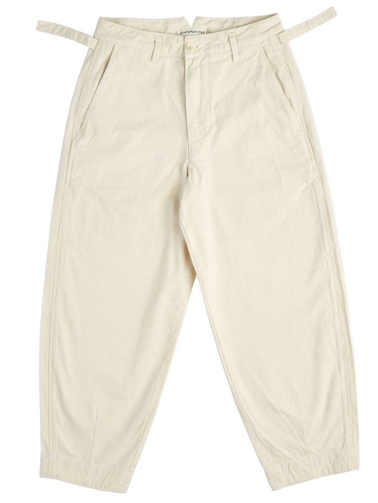 Olderbrother Wide-legged, cropped Forty-Five Trousers - Natural   100% Japanese organic cotton