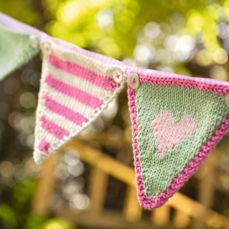 Party bunting knitting pattern. But use different bright colours