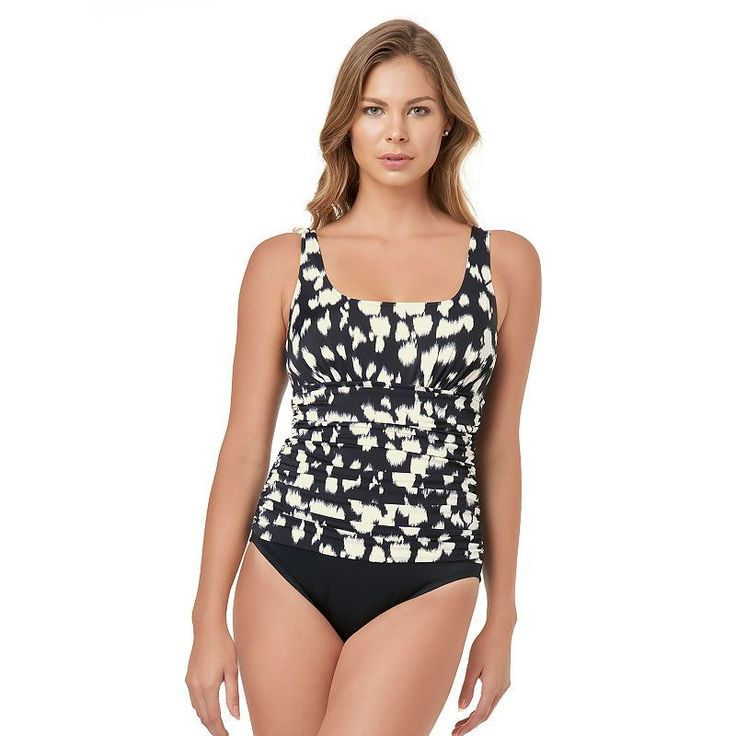 Women's Croft & Barrow® Body Sculptor Control Ruched One-Piece Swimsuit, Size: 14, Black