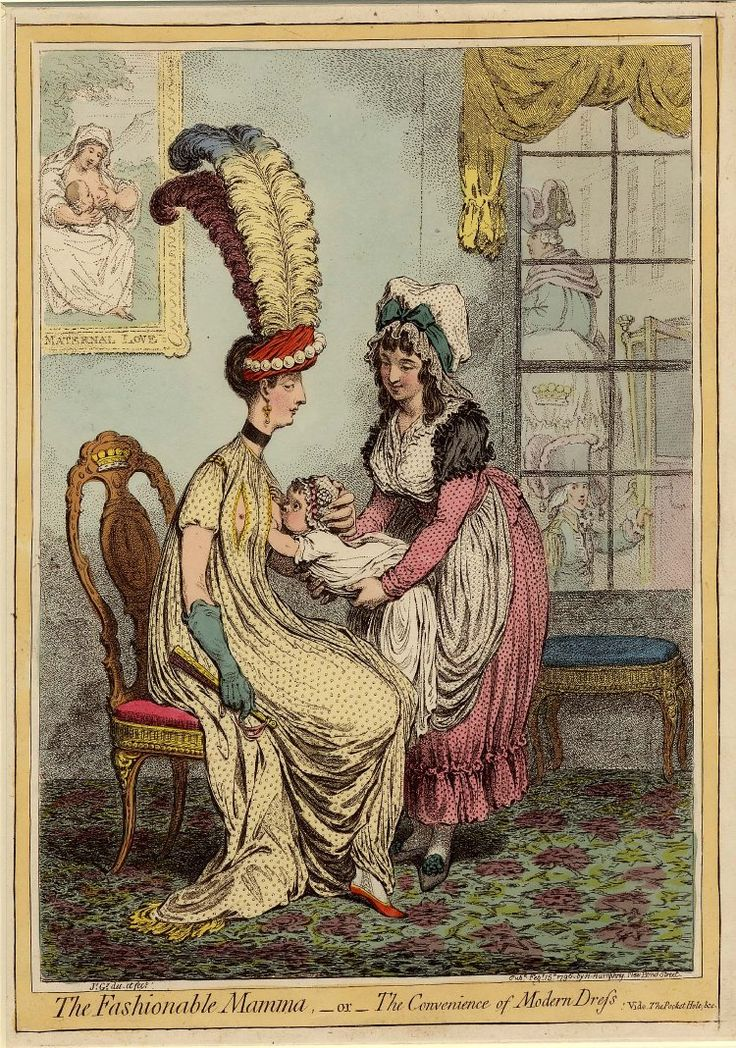 """The Fashionable Mamma, - or - the Convenience of Modern Dress"" by James Gillray, 1796. A satire both on current women's fashions, and on the newly fashionable custom of breastfeeding one's own baby instead of using a wet-nurse."