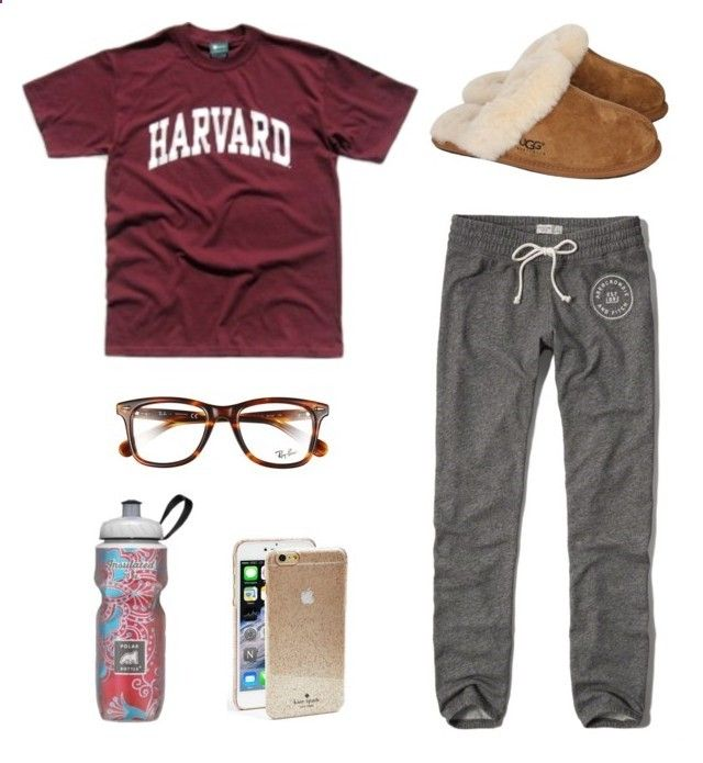sweatpants tag by hsmorris ❤ liked on Polyvore featuring Abercrombie Fitch, UGG Australia, Polar, Ray-Ban, Kate Spade, chloesolms and hsmostlikedset
