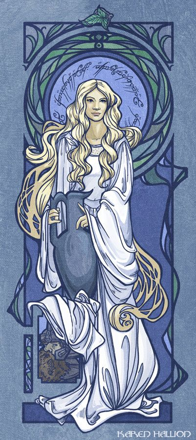 Galadriel Nouveau Print by khallion on Etsy, $25.00 I like how Gimli's just hanging out in the background like a creeper, but not.