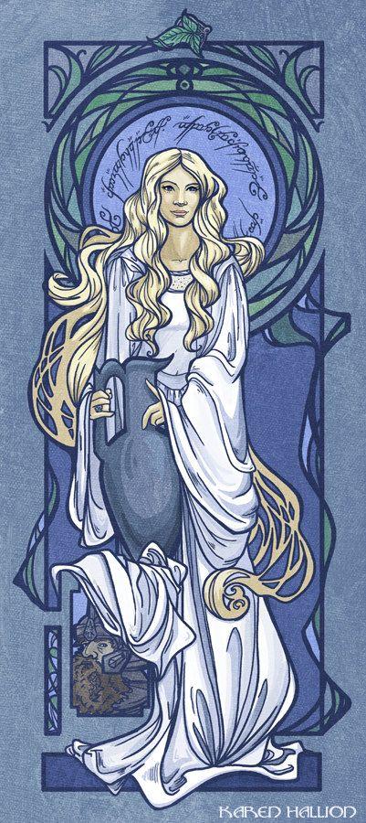 "Mucha Style - "" #Galadriel"" Illustration in style of ""Alphonse Mucha"""