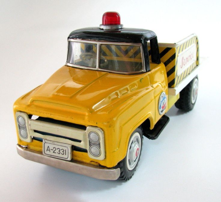 Vintage Toy Trucks Part - 43: VINTAGE JAPAN MADE ASAKUSA TOY SERVICE TRUCK TIN A1 FRICTION A-233I YELLOW