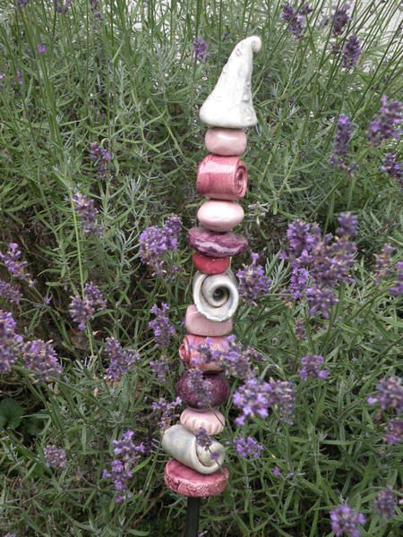 Keramik Stele, Gartenstecker von Bodenseekeramik auf DaWanda.com