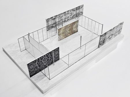 I love how simple and effective this model is at showing how space can be loosely framed by material. Mies for the win.