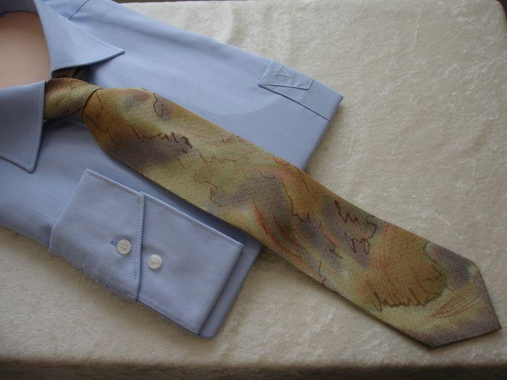 Krawatten - gemalte Seiden-Krawatte Giverny im Geschenkkarton - ein Designerstück von hofatelier-mode bei DaWanda