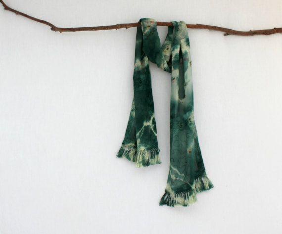 FOREST DWELLER . tie dye scarf . emerald green . by bohemianbabes