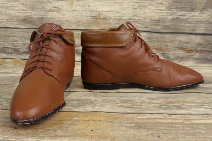 Hunt Club Brown Leather Ankle Boots Womens Size 7 M Vintage Shoes Lace Up Retro #HuntClub