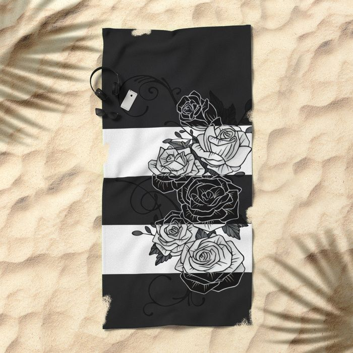 Inverted Roses Beach Towel. #roses #rose #flower #swirls #blackandwhite #striped #stripes #inverted #towel #bech #beachtowel