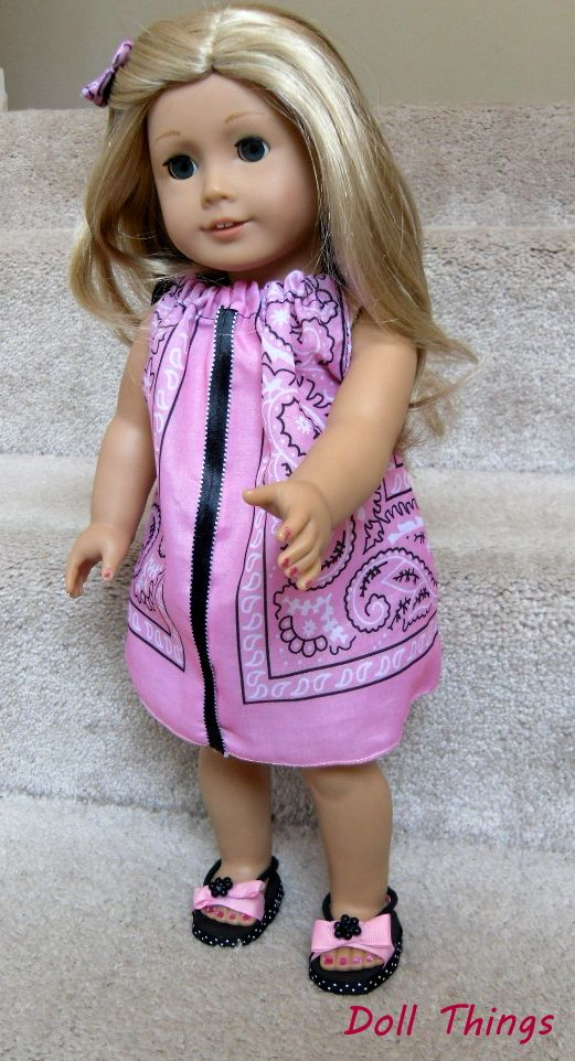 Here is a super easy dress you can make for your American Girl doll using a bandanna. Actually, half a bandanna! My bandanna was quite large (about 19 or 20″) so I cut it in half. I wanted to…
