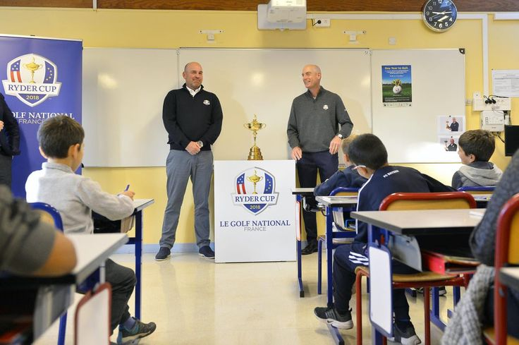 Pupils from a school close to The 2018 Ryder Cup host venue Le Golf National today had a special visit from captains Thomas Bjørn and Jim Furyk with the nine and ten year olds showcasing their work as part of an educational programme which is inspired by the biennial contest between Europe and the United States.  Bjørn and Furyk are in France for The 2018 Ryder Cup Year to Go celebrations and their first official engagement was to meet the children from class CM2 at Ecole Robert Desnos in…