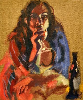 Contemporary Australian Art by Wendy Sharpe - 26x31cm Grace with Wine Glass