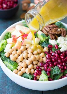 This Broccoli Kale Superfood Salad is a healthy holiday side dish. It's also a high protein, high fiber lunch. With chickpeas, pomegranate seeds and pecans.