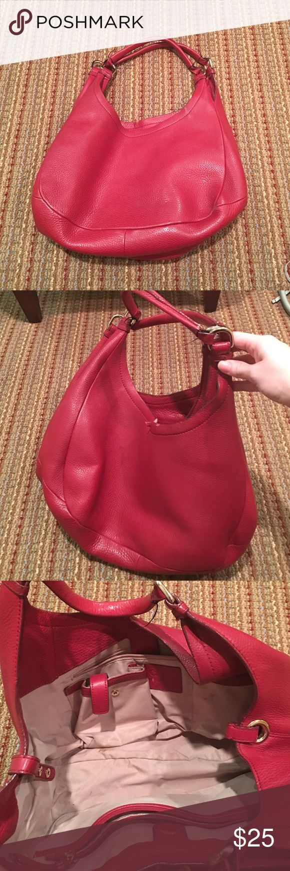 Cole Haan purse Cole Haan red leather purse. A lot of wear and flaws. Torn edge, interior shoes wear and so does handles. 13 inches across and 8 inches deep. Cole Haan Bags Shoulder Bags