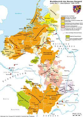 Kaart van Bourgondië in 1477