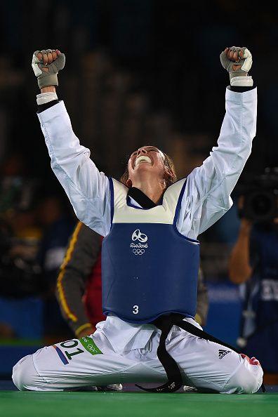 Jade Jones of Great Britain celebrates after defeating Eva Calvo Gomez of Spain…
