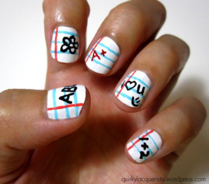 looseleaf paper & doodles nail art.... this would be awesome for school!