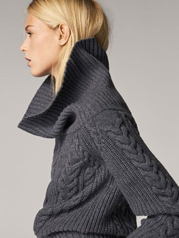 OVERSIZED CABLE-KNIT WOOL SWEATER - null - Massimo Dutti  84328f32c091