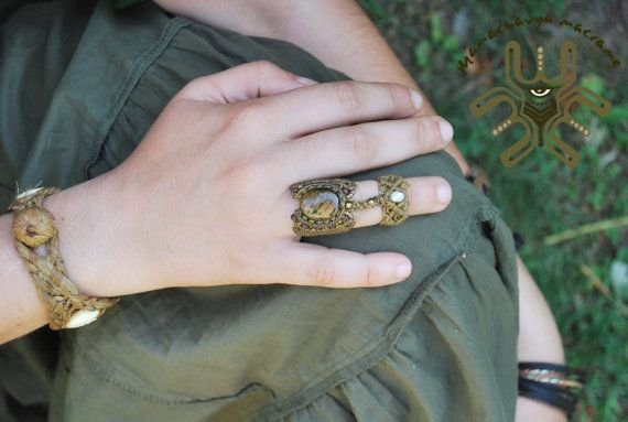 Double Rings with Natural Stones also for by MaMachavaya on Etsy