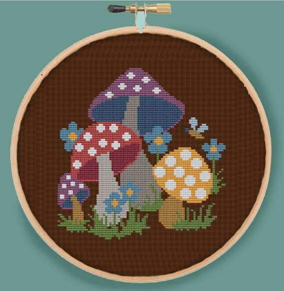 RETRO MUSHROOMS - Modern Counted Cross Stitch Pattern - pdf instant download