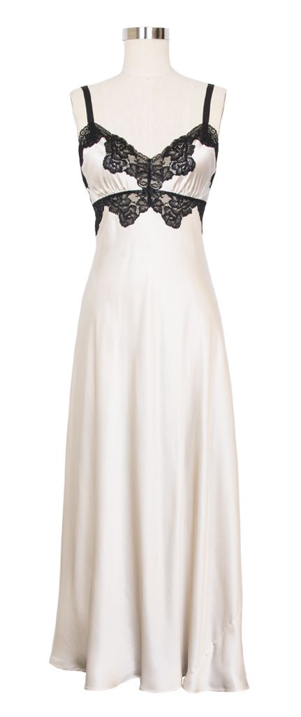 NK iMode Morgan Lace Long Gown | Vintage Inspired Lingerie | Champagne and Black
