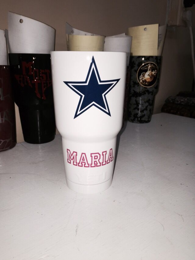 Dallas Cowboys with pink name 30oz Yeti cup Lonestar Concepts & Design lonestarjess15@yahoo.com