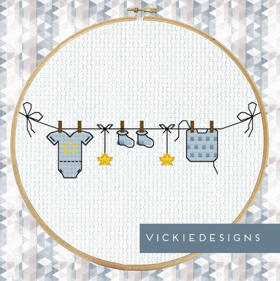 Washing Line Baby Blue Modern Cross Stitch Pattern PDF