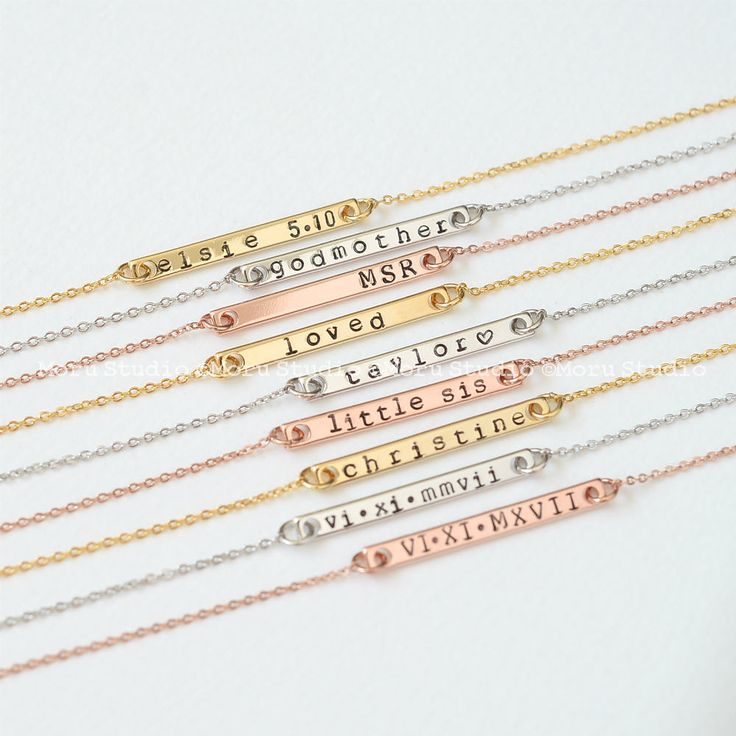 #CustomNecklace #NameBar #Necklaces #HandStamped #MonogramJewelry #InitialNecklace #etsy #morustudio