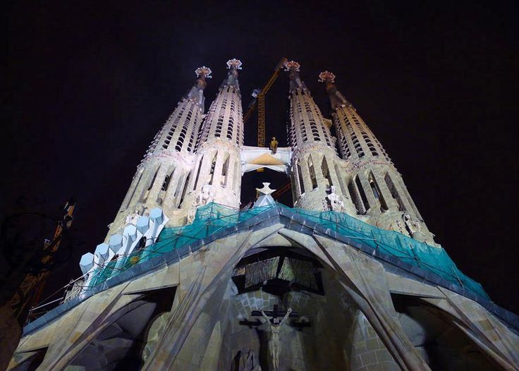Sagrada Familia in Barcelona Spain Sagrada-Familia view by night
