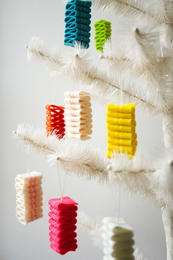 Molly's Sketchbook: Ribbon Candy Felt Ornaments - The Purl Bee - Knitting Crochet Sewing Embroidery Crafts Patterns and Ideas!