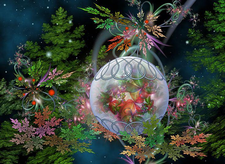 Merry Christmas Lettering In Christmas Tree Silhouette ...  Merry Christmas Fractal Art