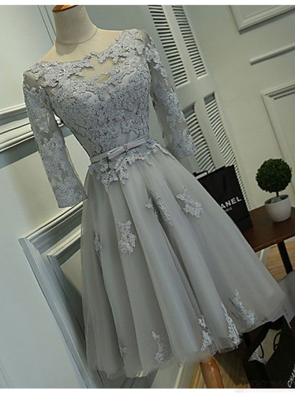 Gray Homecoming Dresses with Half Sleeves,Lace Appliqued Short Prom Dresses…