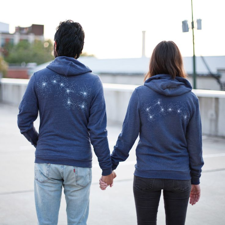 Big Dipper Little Dipper couple hoodies - his and hers zip up hoodie in blue - constellation print - couples shirts - Valentines Day gift by blackbirdsupply on Etsy https://www.etsy.com/listing/472236540/big-dipper-little-dipper-couple-hoodies