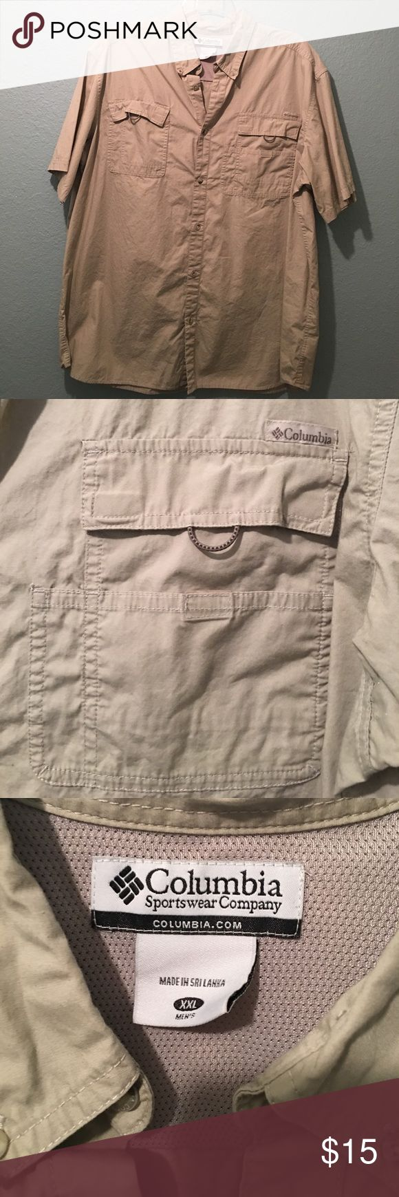 Fishing Shirt 💦 Button Up Columbia  Fishing Shirt Beige-XXL Worn once-Great condition-Like New Columbia Shirts Casual Button Down Shirts